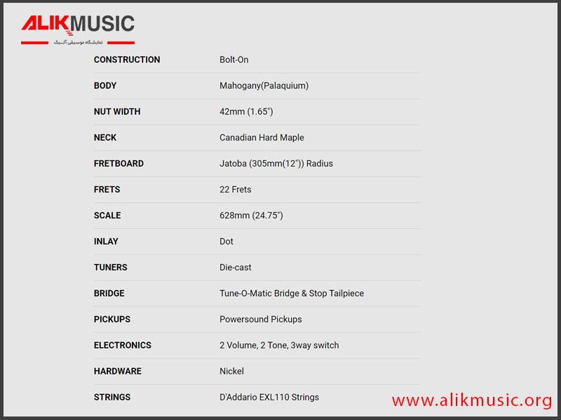 مشخصات گیتار الکتریک CR 100 bk