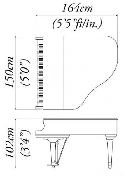 اندازه پیانو گرند کاوایی 150